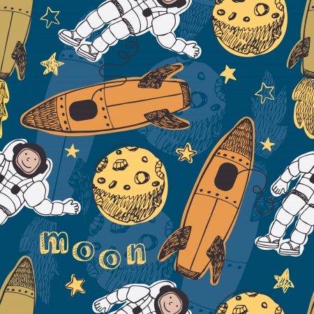 Astronauts, rockets, moon and stars. Missile pattern Vector