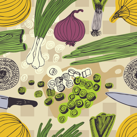 range fruit: Onions, knives and cutting boards pattern