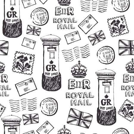Letters, postage stamps and mailboxes. Royal mail pattern Vector