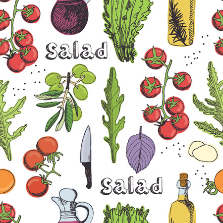 Fresh delicious salad with tomatoes and with arugula. Seamless background Illustration