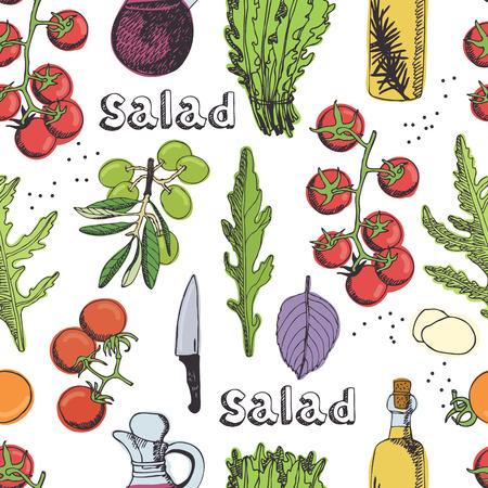 ensalada: Deliciosa ensalada fresca con tomates y rúcula. Sin problemas de fondo Vectores