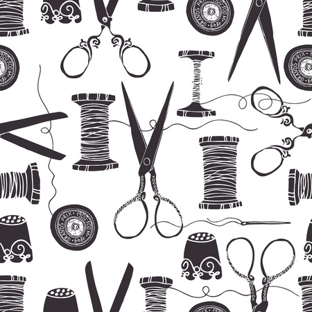 equipos trabajo: Herramientas de costura de la vendimia de fondo sin fisuras Vectores