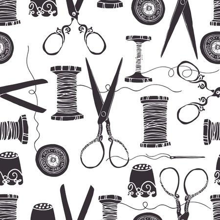빈티지 바느질 도구 원활한 배경