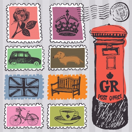 bandiera inghilterra: Francobolli e mailbox, design set Vettoriali