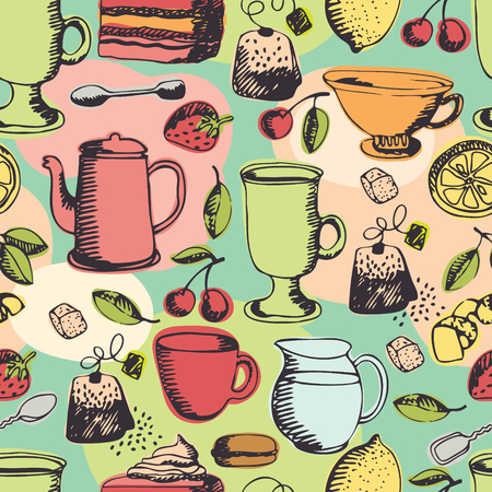 pieces of furniture: Tea time background. Tea, coffee and sweets