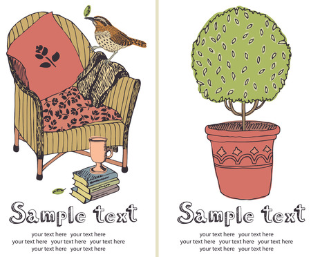 Tree and chair design card Vector