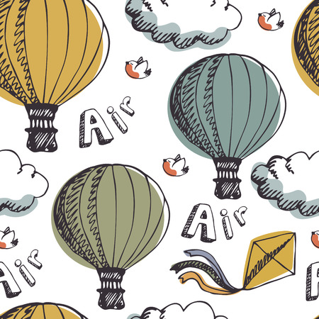 hot line: Hot Air Balloons, seamless background