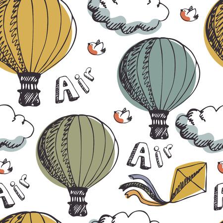 hot air: Hot Air Balloons, seamless background