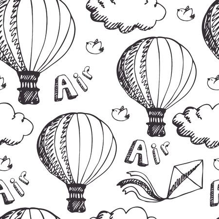 air balloon: Hot Air Balloons, seamless pattern