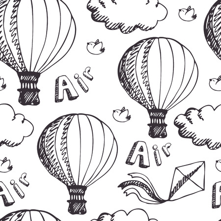 hot line: Hot Air Balloons, seamless pattern