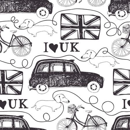 I love UK. London black cab, bike, dachshund and flag Vector