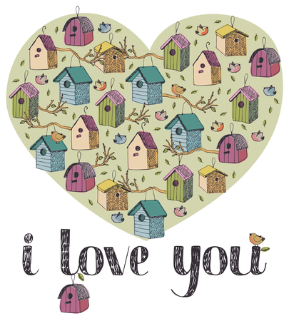 I love you card with birds Vector