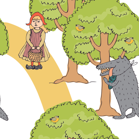 Little red riding hood and the wolf Vector