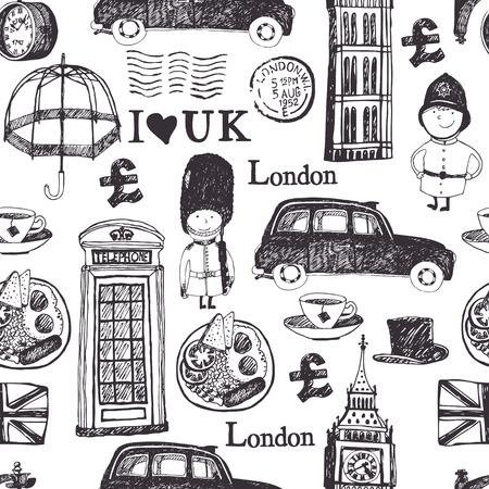 London symbols and landmarks, seamless pattern Illustration