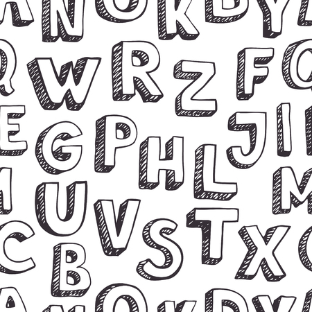 Pattern letters. Hand-drawn sketch Vector