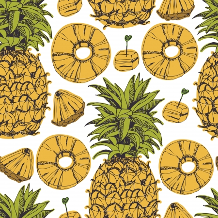 Pineapple, pineapple slices, seamless background Ilustração