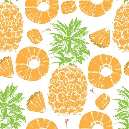Ananas, ananasschijven, naadloze achtergrond
