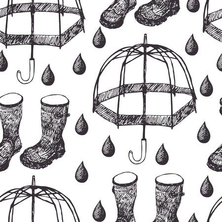 english village: Umbrellas, rubber boots and rain drops Illustration
