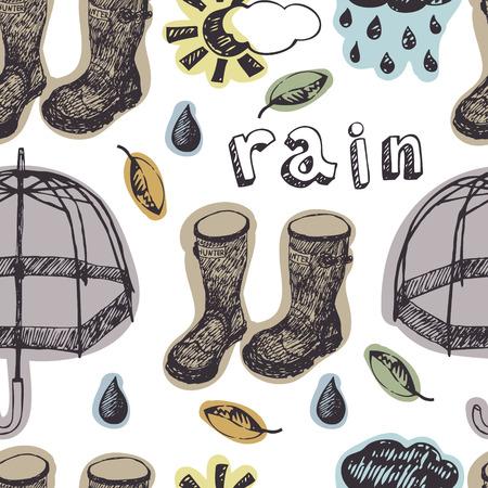 english village: Umbrellas, rubber boots and rain drops, seamless pattern