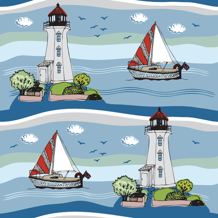 Lighthouses, boats and sea background Vector