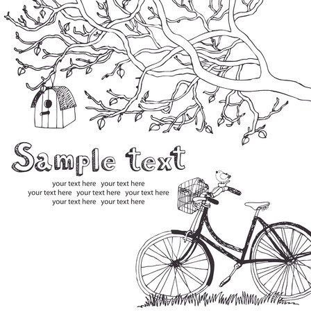 Spring cycling in garden design card