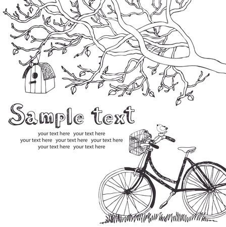 Spring cycling in garden design card