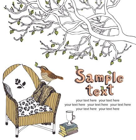 Tea time in armchair with book in the spring garden, design card