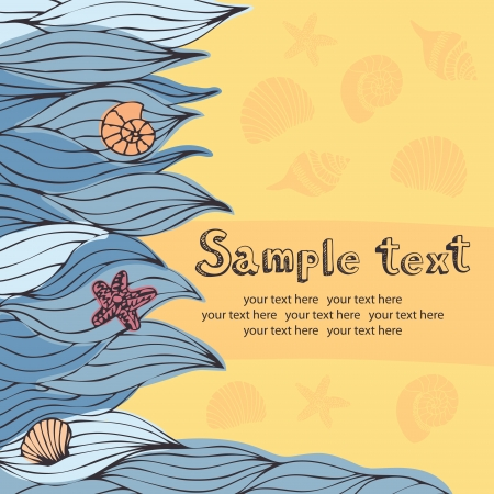 sunny beach: Waves, sand and sea elements. Sunny beach card