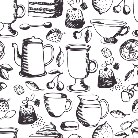 Tea time pattern. Tea, coffee and sweets Vector