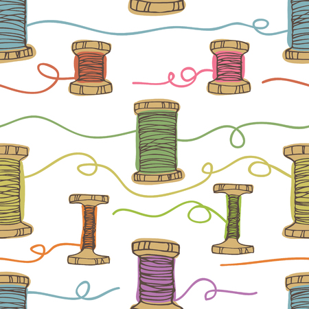Wooden spool with colored threads background