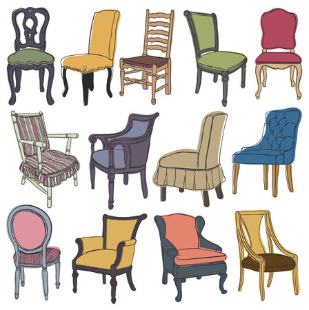 Chairs & armchairs set, isolated object Vector