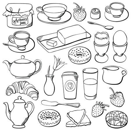 Breakfast set, tableware for breakfast and the food Stock Vector - 25435083