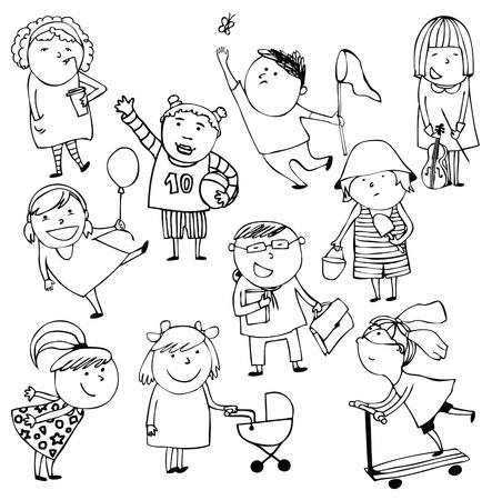 Hand-drawn sketch ten children