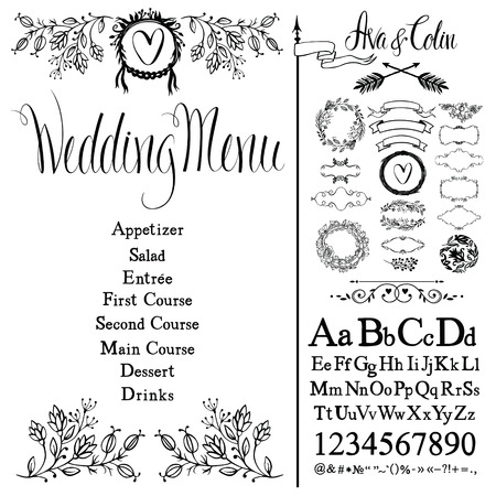 Wedding menu, flowers, font set and design elements set