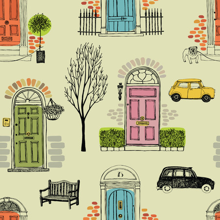 old wooden door: Background with colored doors, cars and trees
