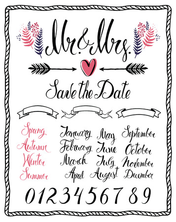 Set of Calligraphic design elements, Mr & Mrs, months, numbers and seasons