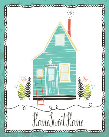 warm house: Home sweet home design card
