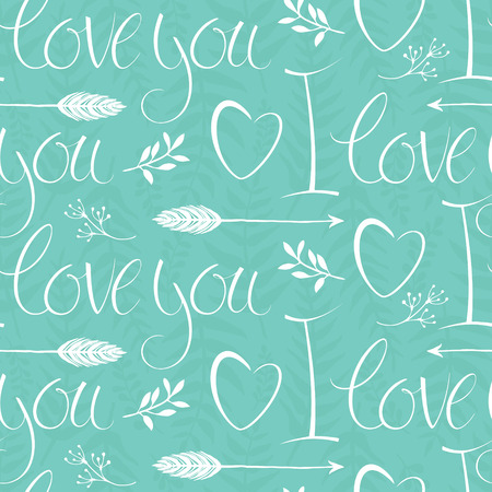 I love you design background with hearts and arrows Ilustração