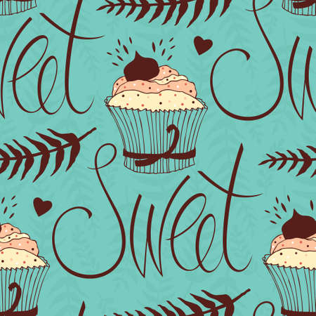 Sweet chocolate cupcake, design background Vector