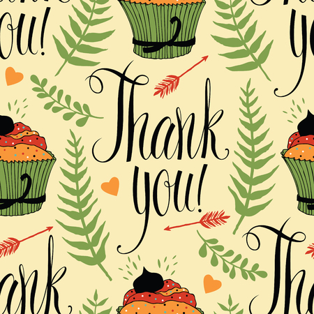 thankful: Thank you background with cupcake and calligraphy, fern, arrow and heart