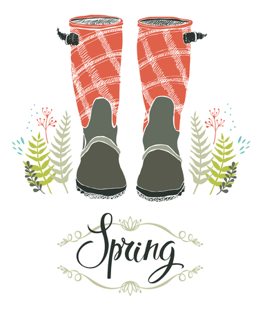 rain boots: Rain boots and spring forest grass, design card with calligraphy