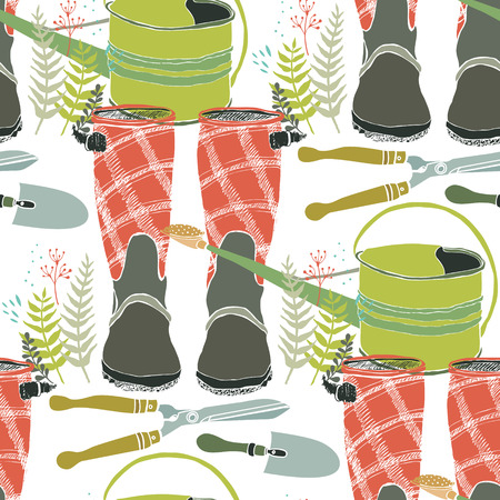 home gardening: Working in the garden, flowers, watering cans and rain boots. Seamless background