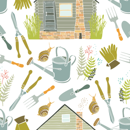 gold shovel: Country life and gardening seamless background