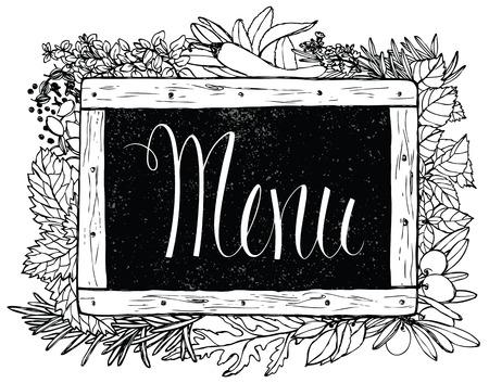 basil herb: Hierba Cocina con tiza en la tarjeta del dise�o pizarra