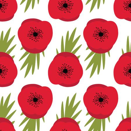 remembrance day: Giorno della Memoria, Seamless pattern di progettazione con i papaveri rossi