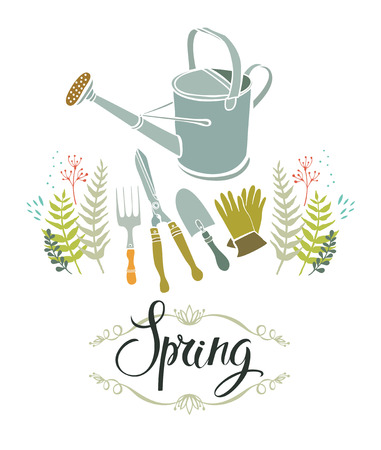 Spring gardening design card with calligraphy