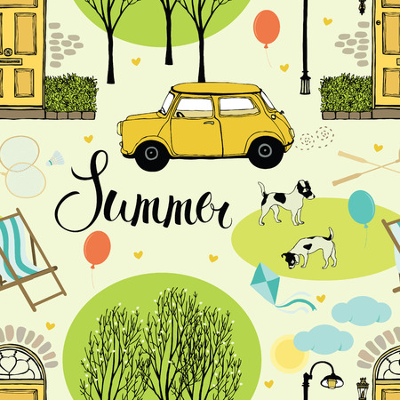 car garden: Summer street with trees, doors, cars and dogs. Seamless background Illustration