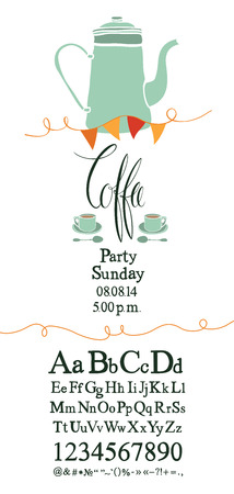 Coffee party invitation with font set and calligraphy Vector