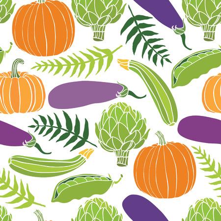 Fresh vegetables seamless background, pumpkins, peas, artichokes and eggplant Vector