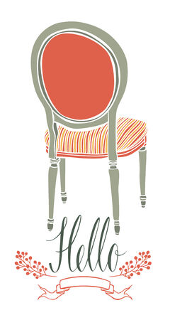 antique chair: Hello design postcard with vintage chair Illustration